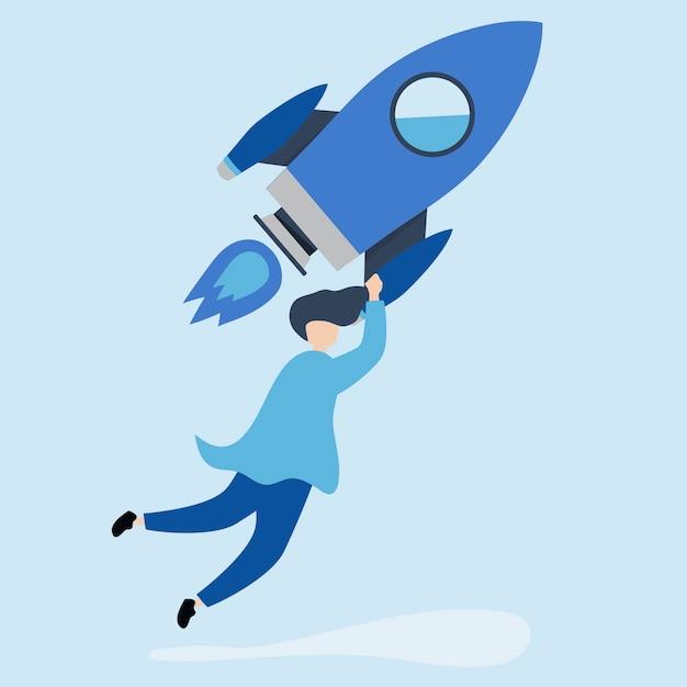 Een man die vasthoudt aan een gelanceerde raket Gratis Vector