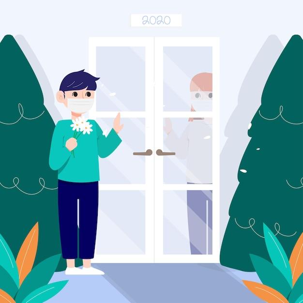 Een man met een masker praat met een vrouw tussen de deur. Gratis Vector