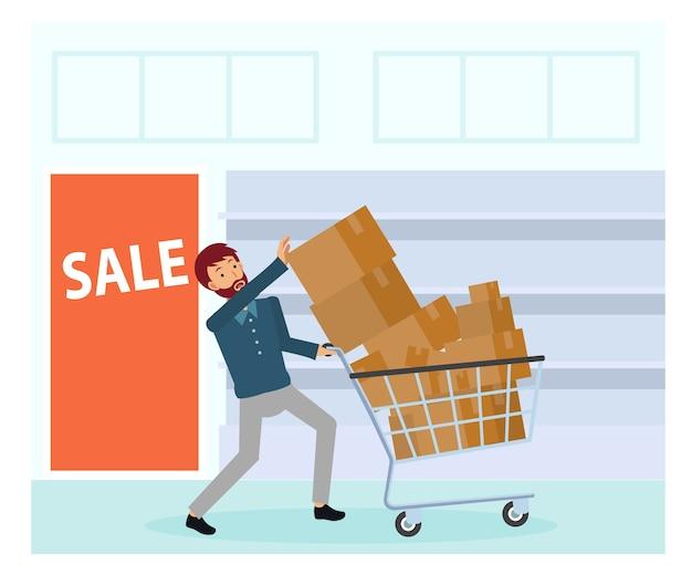 Een man met veel spullen in de winkelwagen. een man koopt teveel spullen en probeert ze allemaal te pakken. uitverkoop. zwarte vrijdag verkoop. Premium Vector