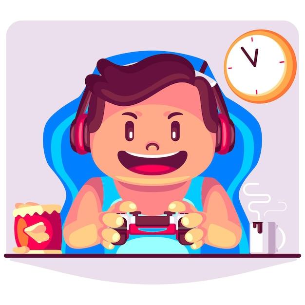 Een man speelt videogame cartoon afbeelding Premium Vector