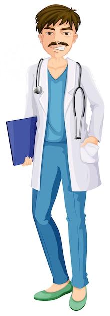 Een mannelijke arts Gratis Vector