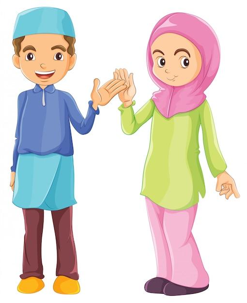 Een mannelijke en een vrouwelijke moslim Gratis Vector