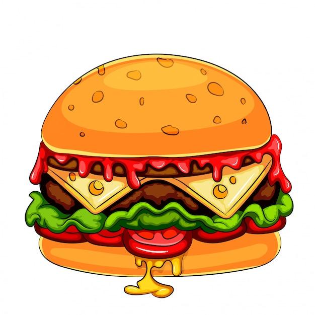 Een mascotte stripfiguur hamburger cheeseburger Premium Vector