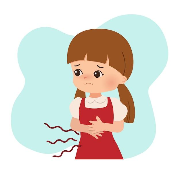 Een meisje dat honger of buikpijn heeft. maagprobleem, pijn, ziekte. platte vector design geïsoleerd Premium Vector