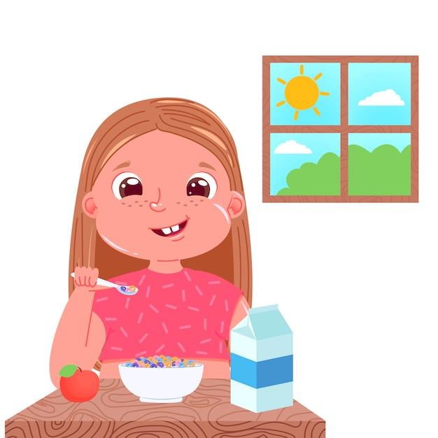 Een meisje eet ontbijt in de ochtend. zoete schotel kleurrijke cornflakes met melk. Gratis Vector