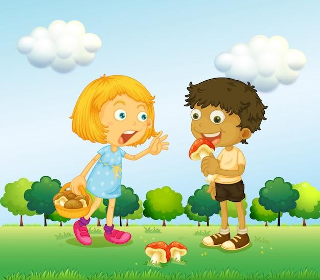 Een meisje en een jongen die paddestoelen oppakken Gratis Vector