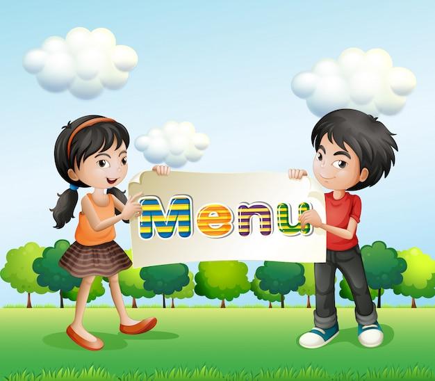 Een meisje en een jongen met een uithangbord Gratis Vector