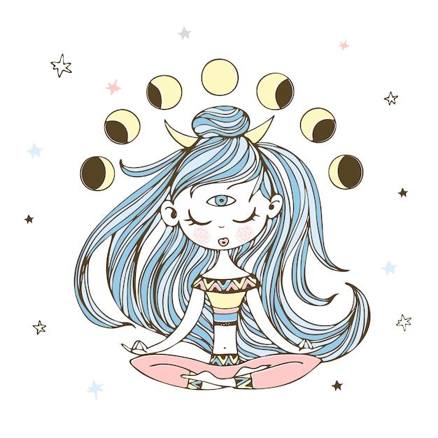 Een meisje in de lotushouding mediteert. esotericus. Premium Vector