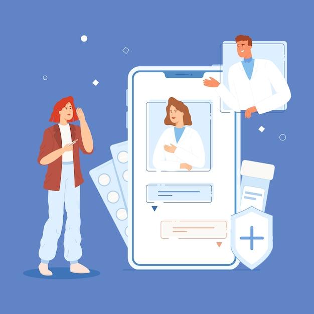 Een meisje met een temperatuur communiceert online met artsen via een chat aan de telefoon Premium Vector