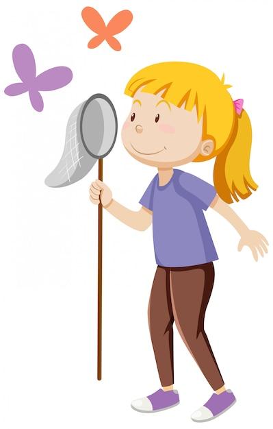 Een meisje met insect vangen in staande poseren met een aantal butterfies cartoon geïsoleerd Gratis Vector