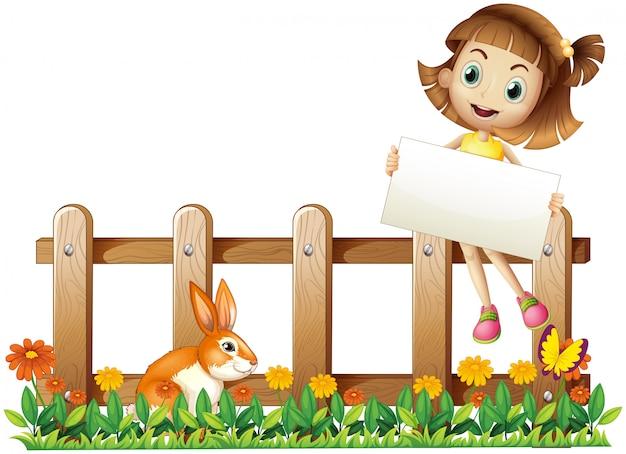 Een meisje zit aan het hek met een leeg bord Gratis Vector
