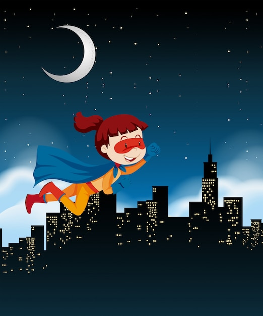 Een meisjes super held die op hemel vliegt Gratis Vector