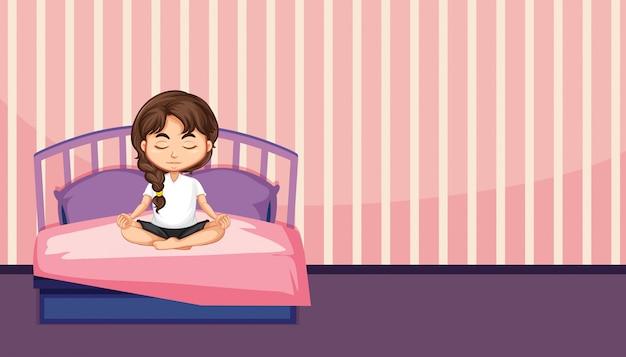 Een meisjesmeditatie in de slaapkamer Gratis Vector
