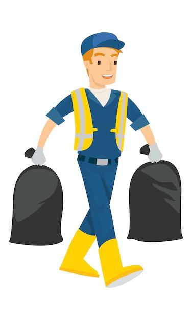 Een mens draagt twee die vuilniszak op witte achtergrond wordt geïsoleerd Premium Vector
