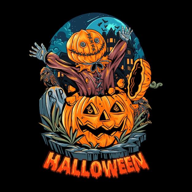 Een mens met een zak komt uit een halloween-pompoen en schrikt omdat het zo eng is. bewerkbare lagen vector Premium Vector