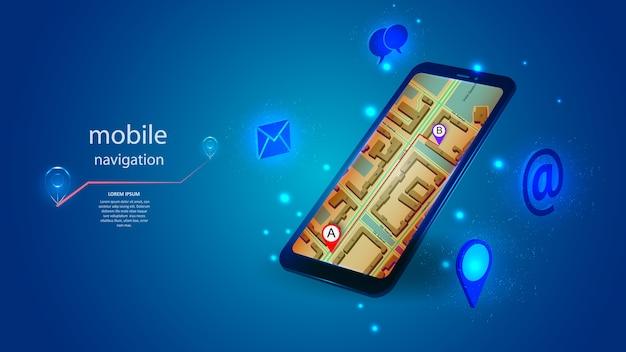 Een mobiele telefoon met een applicatie voor mobiele navigatie. wetenschap, futuristisch, web, netwerkconcept, communicatie, geavanceerde technologie. Premium Vector