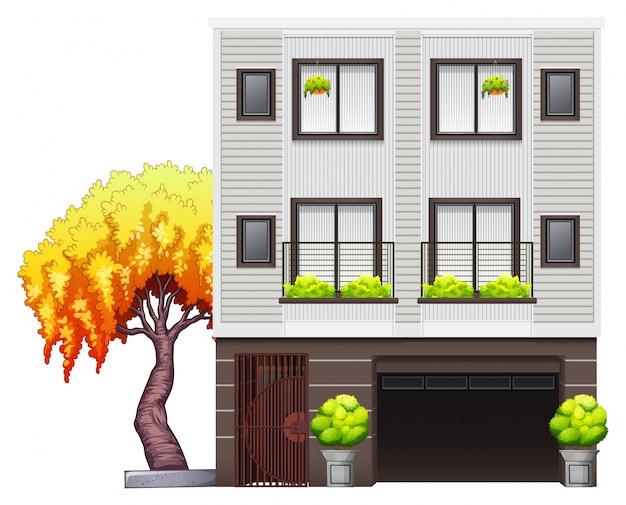Een modern huis Gratis Vector