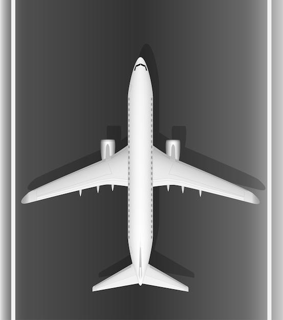 Een modern wit straalvliegtuig op de baan. uitzicht van boven. een goed ontworpen afbeelding met veel kleine details. kopieer ruimte. Premium Vector