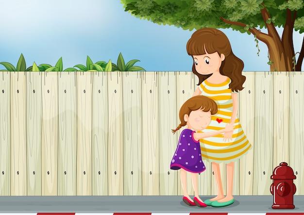 Een moeder en haar dochter bij het hek op de weg Gratis Vector