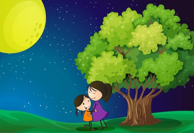 Een moeder en haar dochter in de buurt van de boom Gratis Vector