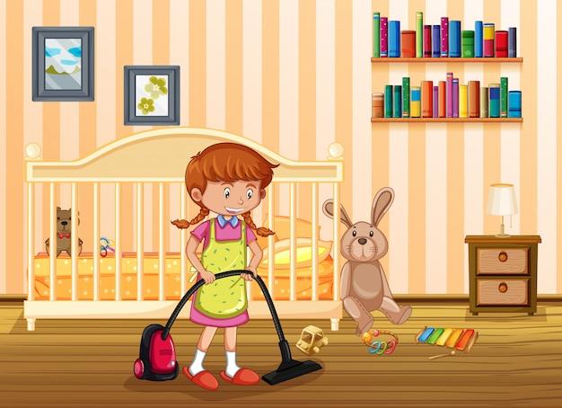 Een moeder schoonmaak kind slaapkamer | Vector | Premium Download