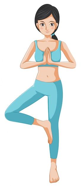 Een mooi meisje dat yoga doet Gratis Vector