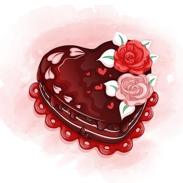 Een mooie hartvormige vakantiecake met roomrozen en chocoladesuikerglazuur. Premium Vector