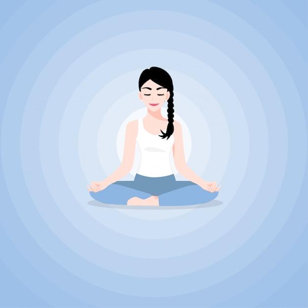 Een mooie jonge vrouw stripfiguur in yoga lotus beoefent meditatie. praktijk van yoga. vector illustratie Premium Vector