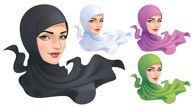 Een moslimvrouw met hijab Premium Vector