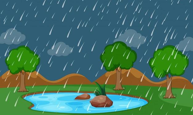 Een natuurregenscène Gratis Vector