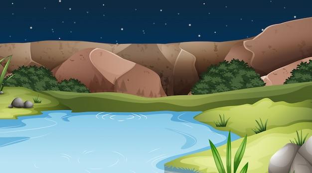 Een natuurwaterlandschap Gratis Vector