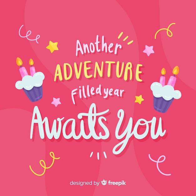 Een nieuw avontuur gevuld jaar wacht op je verjaardagskaart Gratis Vector