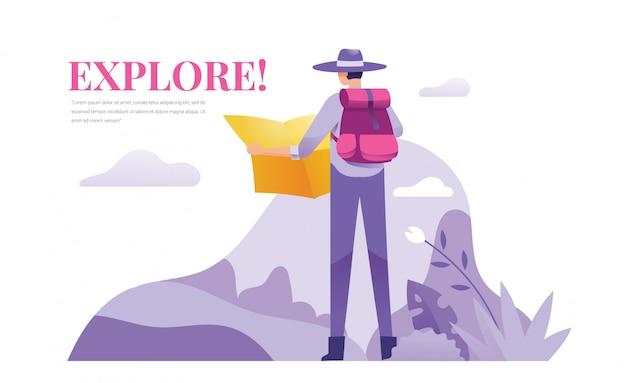 Een ontdekkingsreiziger en avonturier staan buiten en houden een kaart vast Premium Vector