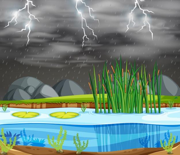Een onweersbui-meerscène Gratis Vector