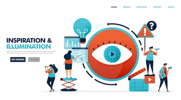 Eén oog in een film samenzwering om ideeën en inspiratie op te doen, op zoek naar ideeën in kunst per film en video. Premium Vector