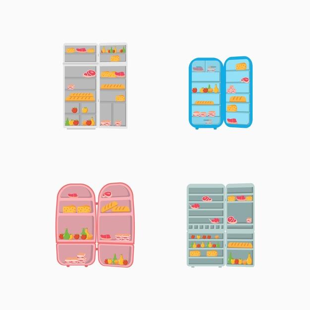 Een open koelkastdeur vol groenten, fruit, vlees en zuivelproducten. Premium Vector