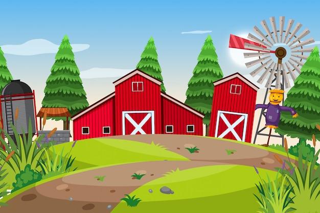 Een openluchtscène met boerderij Premium Vector