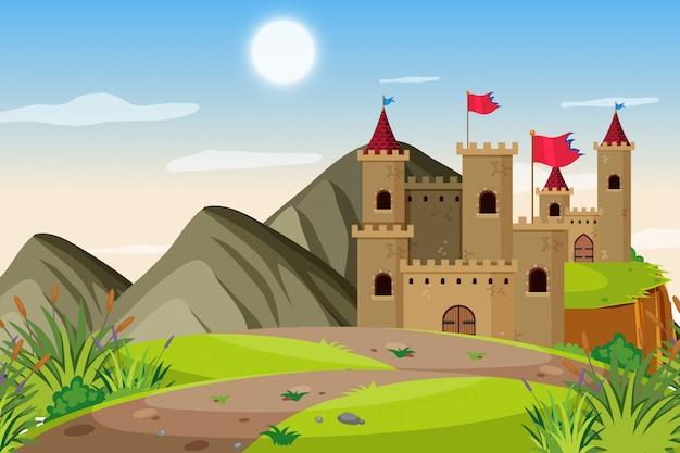 Een openluchtscène met kasteel Premium Vector