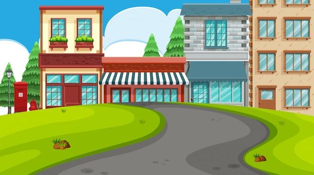 Een openluchtscène met winkels Premium Vector