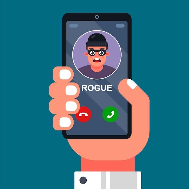 Een oplichter roept een mobiele telefoon op. geld afpersen, vals spelen aan de telefoon. platte vectorillustratie Premium Vector
