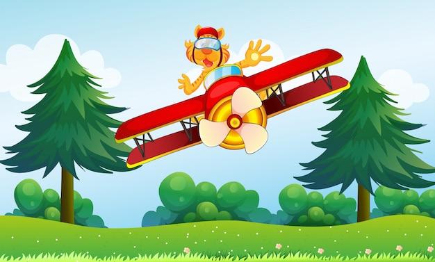 Een opschepperige tijger die in een vliegtuig rijdt Gratis Vector