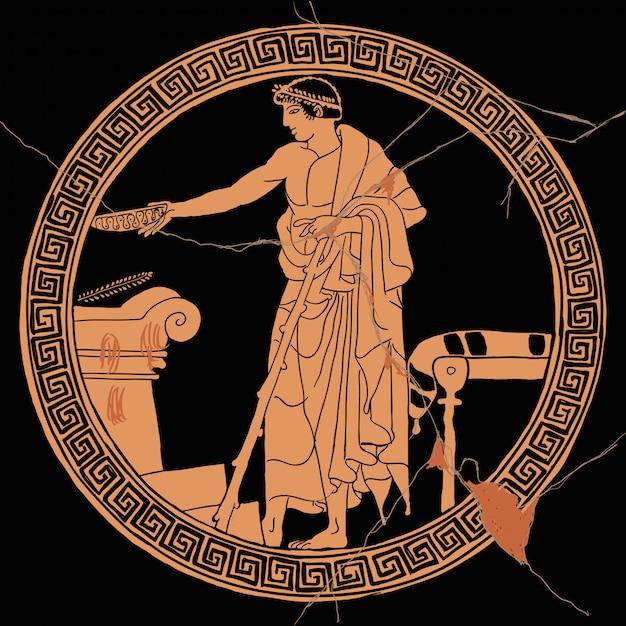 Een oude griekse man houdt een offerritueel bij een stenen altaar met een beker in zijn hand. Premium Vector