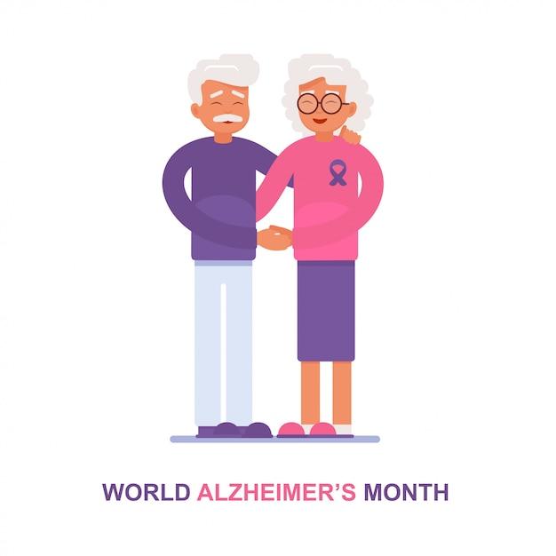 Een oudere man en zijn vrouw met de ziekte van alzheimer ondersteunen elkaar Premium Vector