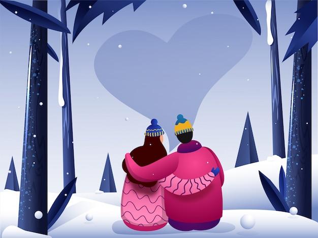 Een paar karakter op sneeuw met hart in de nachtelijke hemel Premium Vector