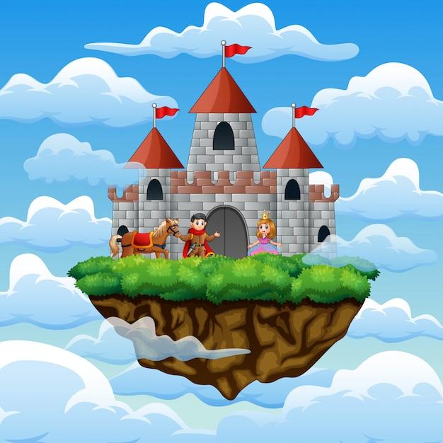 Een paarprins en prinses in een kasteel op de wolk Premium Vector