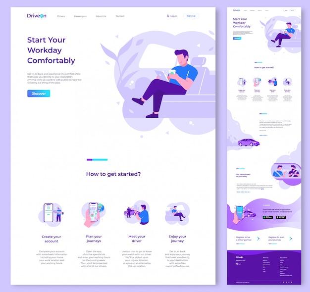 Een pagina website vector ontwerpsjabloon Premium Vector