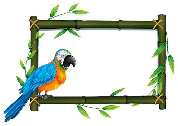 Een papegaai op bamboegrens Premium Vector