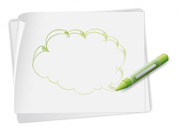 Een papier met een afbeelding van een toelichting en een kleurpotlood Gratis Vector