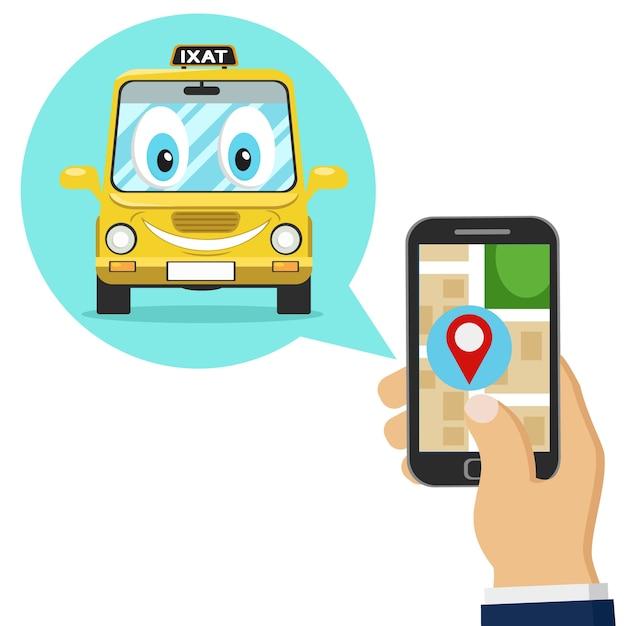 Een persoon bestelt een taxi via een mobiele applicatie op een witte achtergrond. Premium Vector