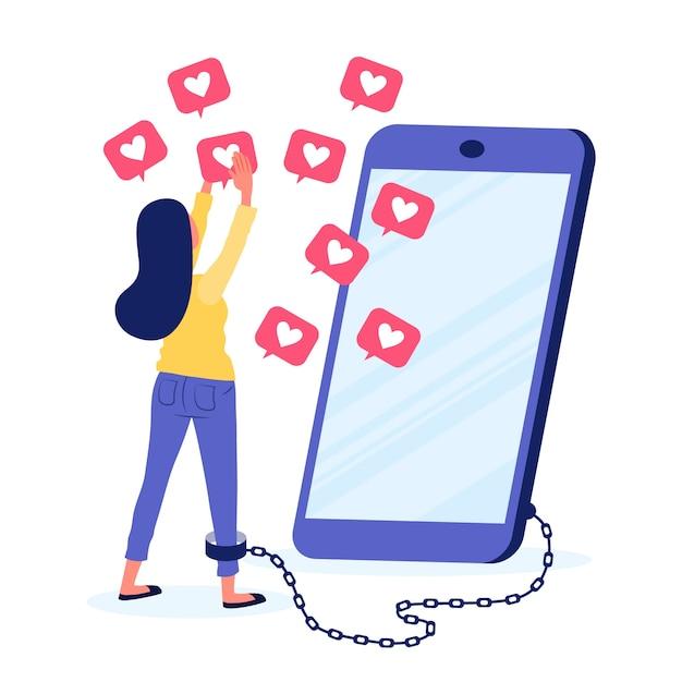 Een persoon die verslaafd is aan sociale media Gratis Vector